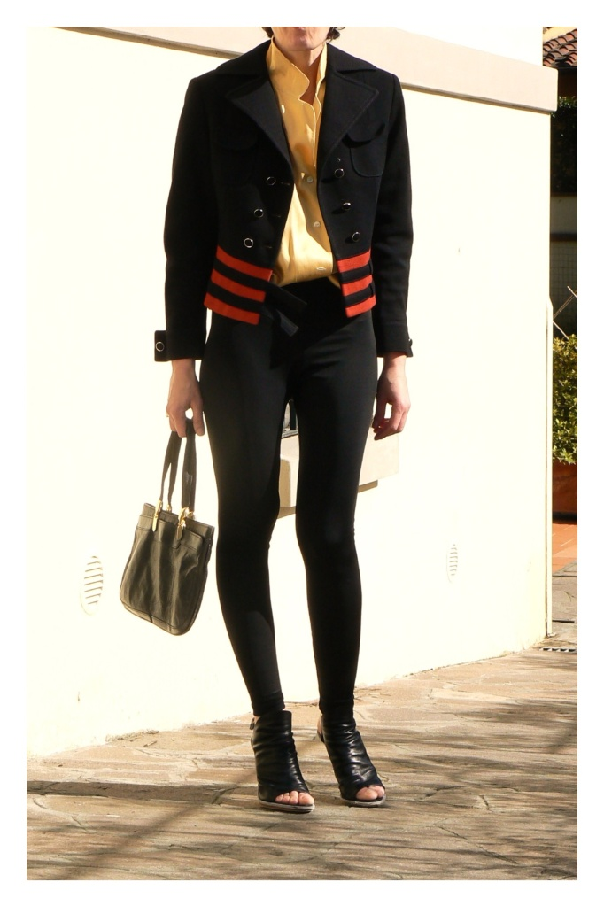 Vintage jacket, stripes jacket, Anastasia, new outfit, mysouldress, american apparel leggins, Genny shirt, Florence, giacca nera e rossa, Balenciaga shoes, vintage bag, yellow shirt, black leggins, vintage style, Spring fashion, Spring outfit, Spring trendy,