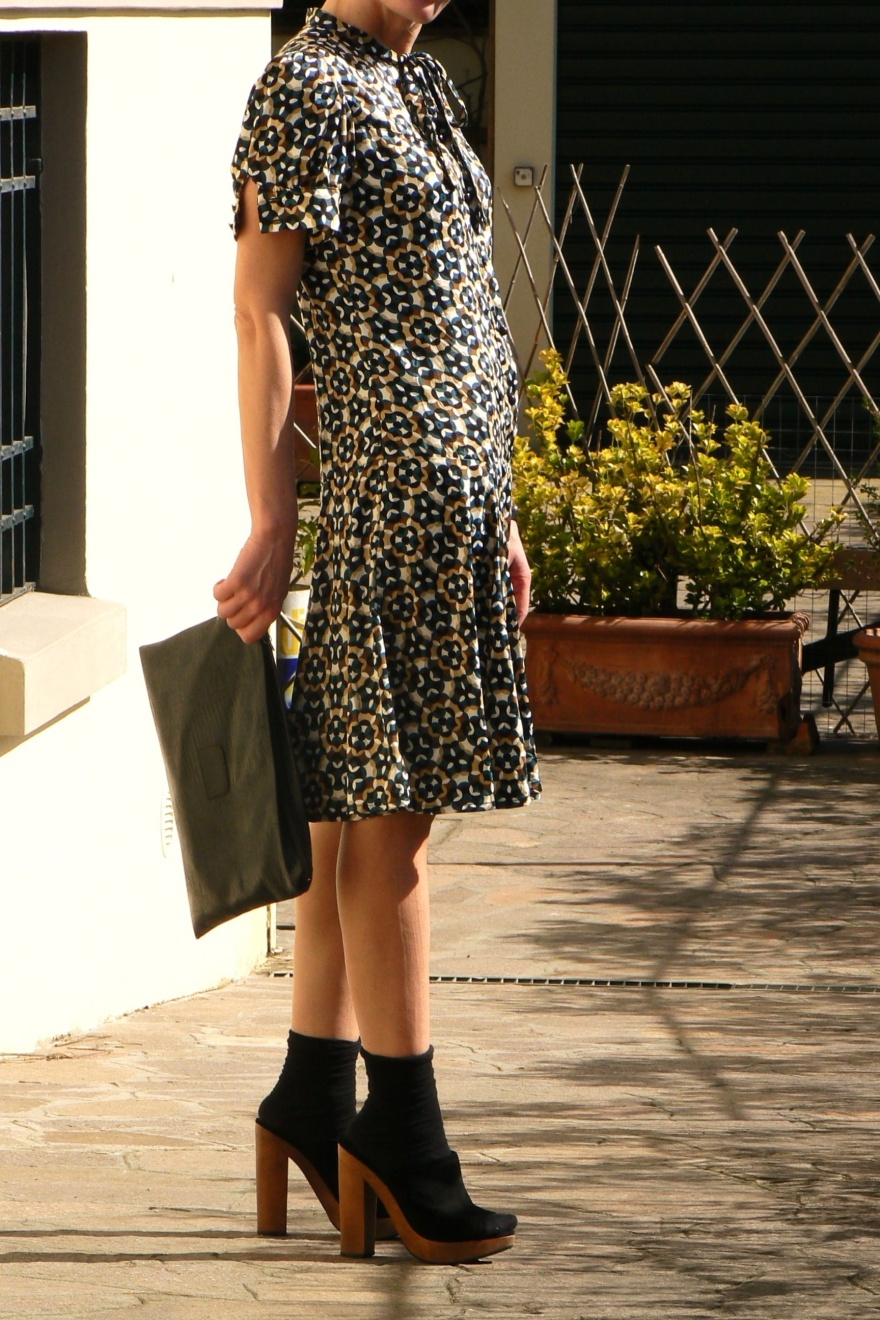 New outfit, vintage style, vintage outfit, Anastasia, Florence, Zara shoes, zara dress, fantasy dress, outfit da lavoro, vintage bag, calzini, scarpe con i calzini, zoccoli, my life,