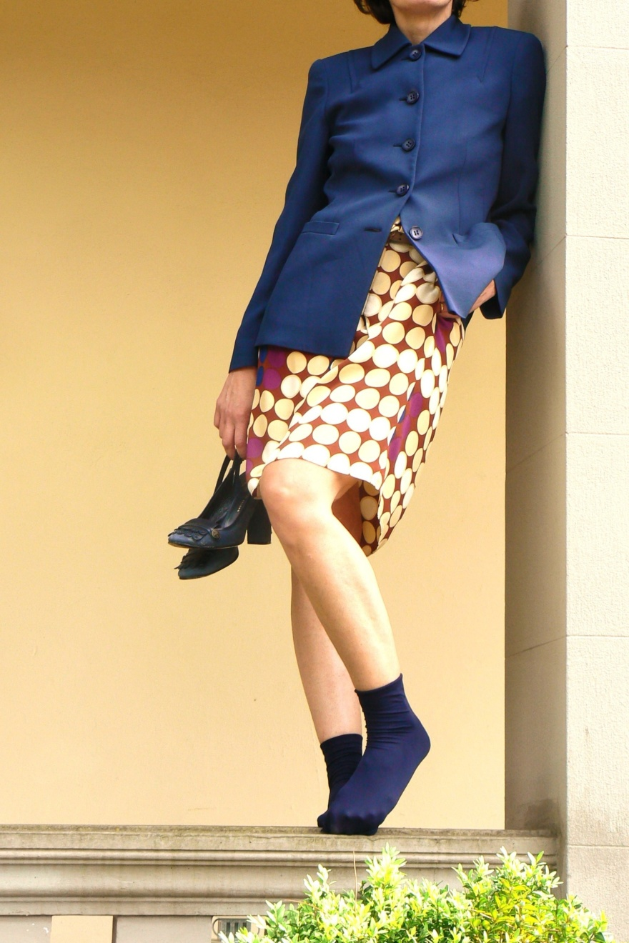 Marni for H&M, Marni dress, H&M, Marc Jacobs shoes, blue shoes, Marc Jacobs, fantasy dress, Caractère jacket, blue jacket, socks and shoes, Anastasia style, Florence, vintage style, cool outfit, look da cerimonia, look da battesimo, seni prosperosi, Caractère,