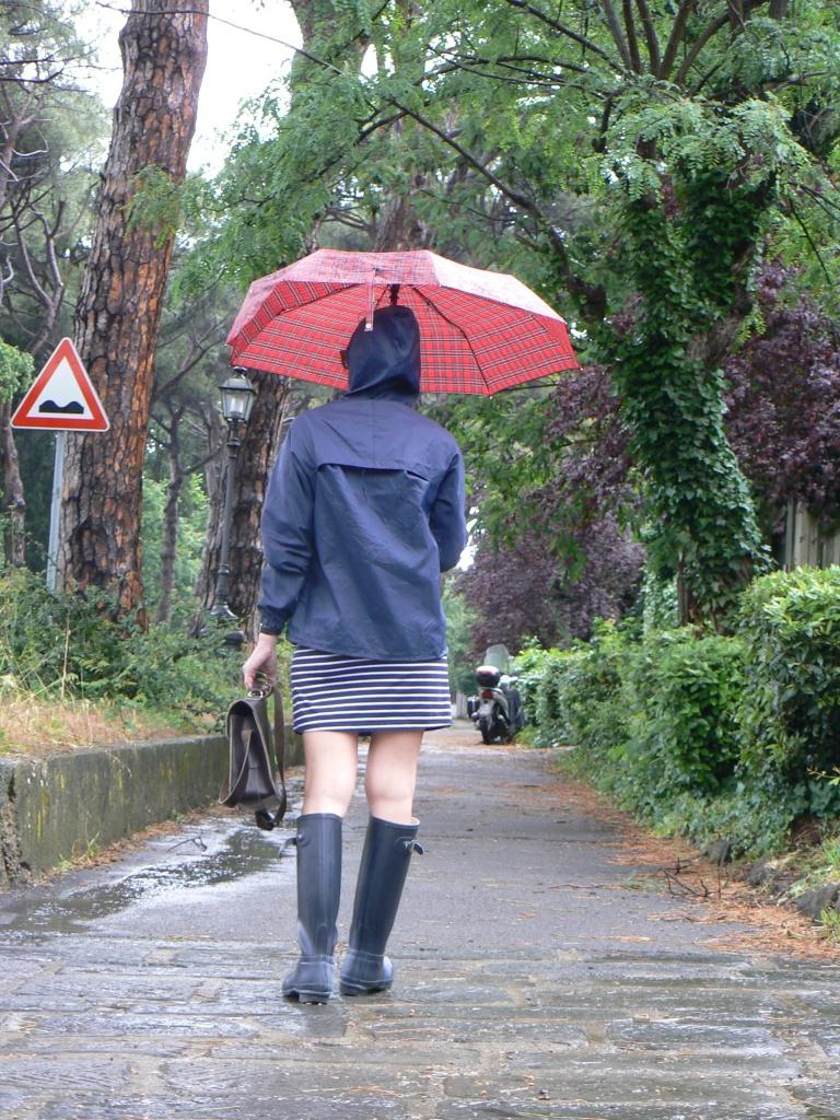 K way, look da pioggia, vestito a righe, stripes dress, blue and white, Hunter, Hunter shoes, stivali da pioggia, cartella, ETSY bag,  handmade bag, outfit da pioggia, new outfit, Anastasia style, vintage stylechic giacca da pioggia, jacket pakcs, Hunter stivali.