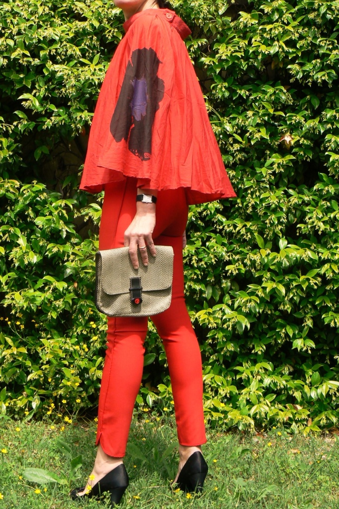 Total Red, look total Red, Anastasia's style, Zara pants, shirt hand made, skirt Genny, Zara shoes, sandali neri, Nazzareno Gabrielli bag, Florence, vintage style, trasformer look, colore della passione, sexy, sexy look, trasparent shirt, trasparent skirt, cocktail look, vintage shirt,