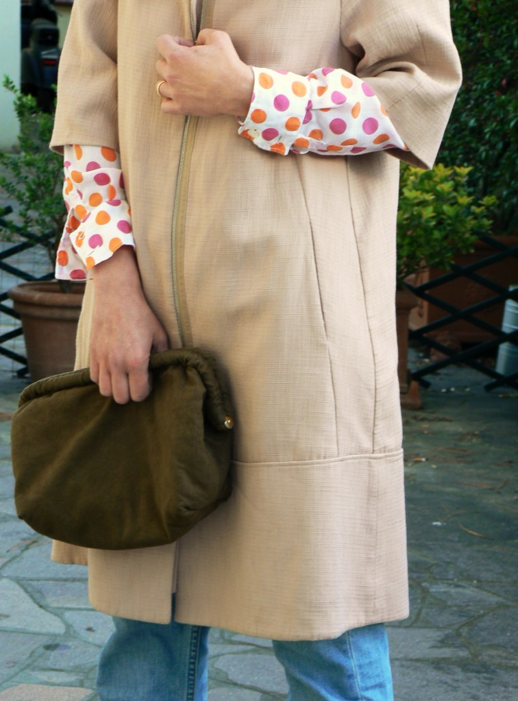 anastasia style, florence, pollini, pollini shoes, marni, marni coat, levi's 501, polka shirt, friday look, blog, pinl coat, fashion, polka look, new outfit, moda, vintage, bag, vintage style, casual look, lool for drink, golden shoes