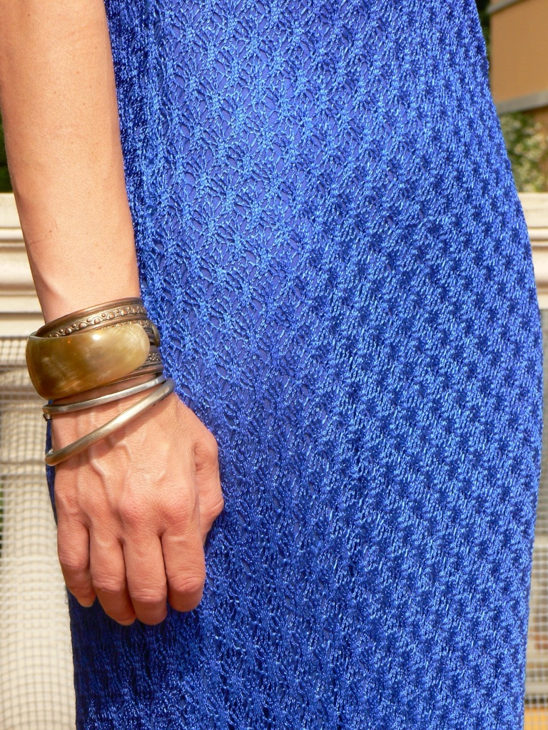 Versus dress, long dress, blue dress, trasparent sandals, Jean Paul Gaultier, dress, Anastasia, new look, bracelet, vintage bracelet, bangle, summer look, vintage look, party look, my life, new outfit. Blogger, fashion blogger.