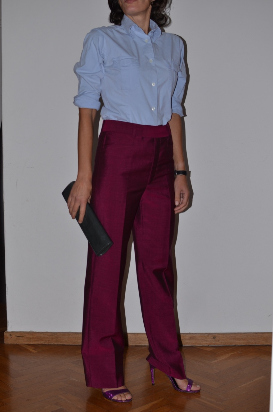 Fashion blogger, new outfit fashion blogger, Prada pants, pantaloni viola, vintage shirt, camicia celeste, asos shoes, Pieces bag, Anastasia style, Florence, working outfit,