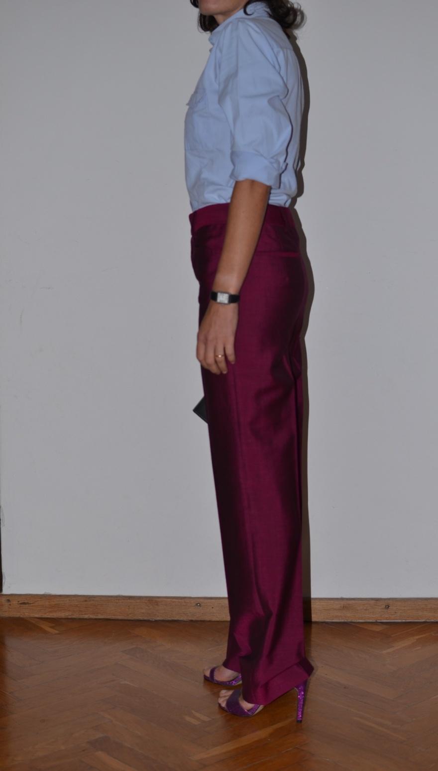 Fashion blogger, new outfit fashion blogger, Prada pants, pantaloni viola, vintage shirt, camicia celeste, asos shoes, Pieces bag, Anastasia style, Florence, working outfit,