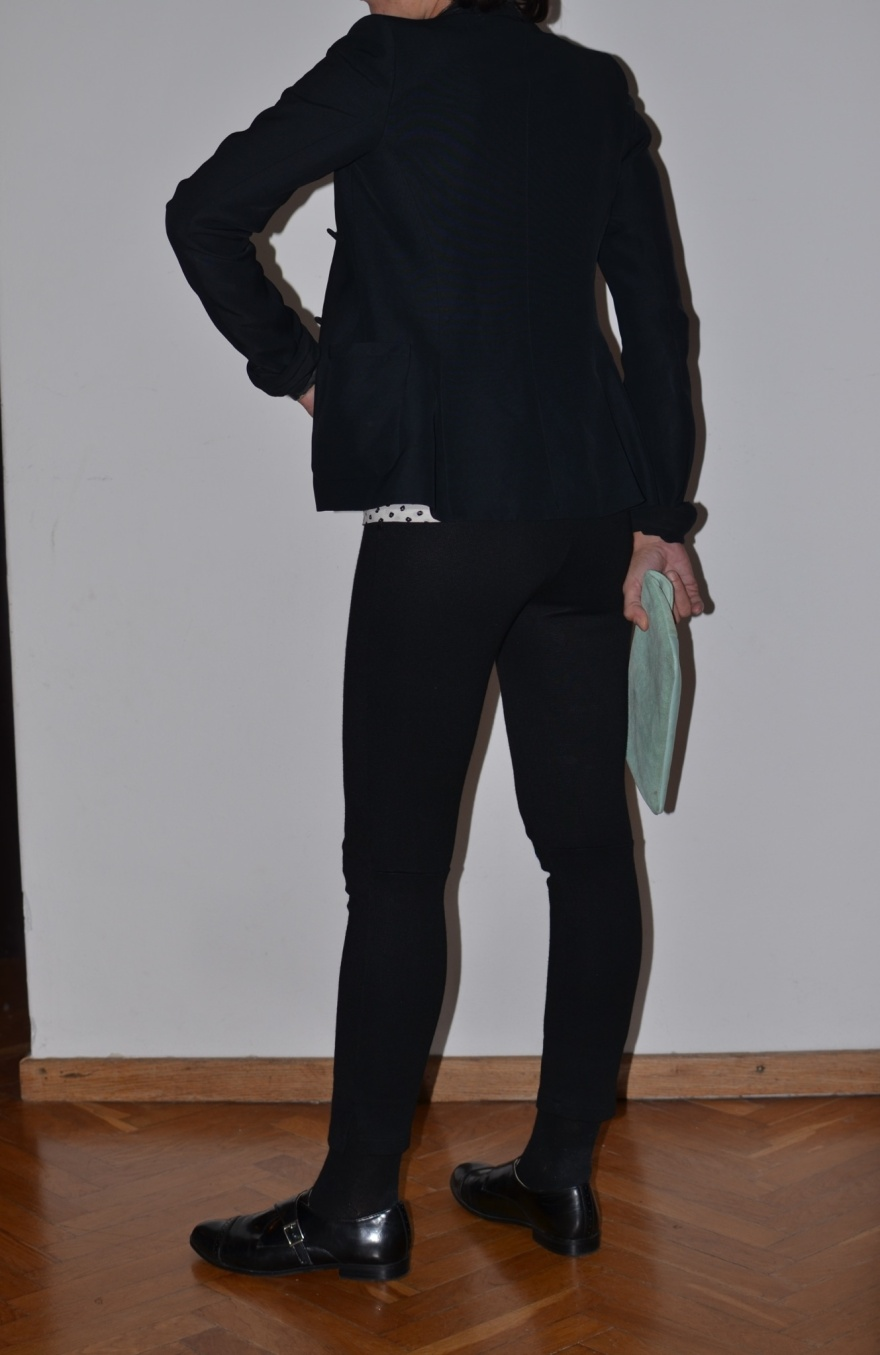 Black pants, vintage pants, Balenciaga  jacket, Balenciaga shirt, black and white, H&M shoes, boy shoes, Anastasia style, Florence, cool outfit, mezza stagione, calzini e mocassini, socks and shoes.