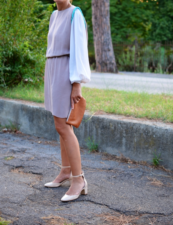 Pieces bag, Anastasia style, mysouldress, Florence, new outfit, italian fashion blogger, fashion blogger, vintage dress , mysoul transformer , Zara shoes, Zara , white shoes, Pink shoes, vintage style, pre- fall winter 2013-2014, dress multicolor, block color dress