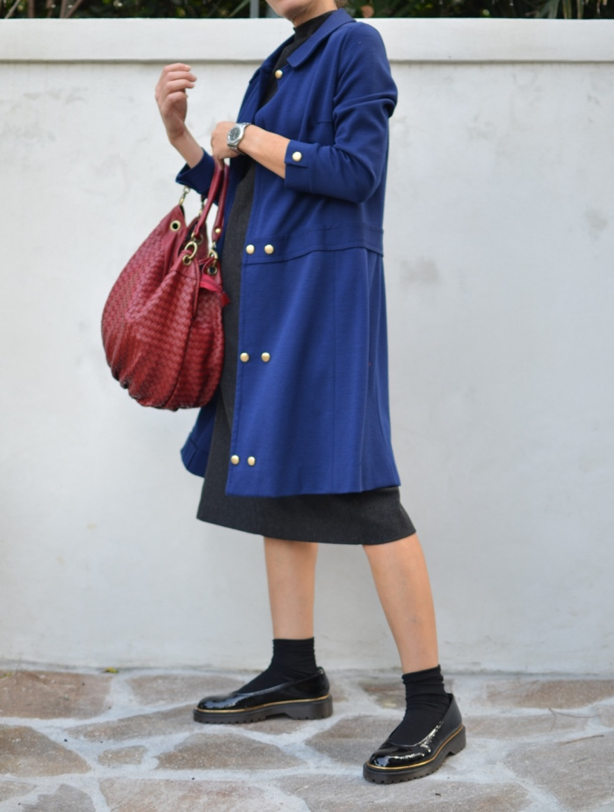 Vintage jacket, vintage cape, cappotto bluette, vintage style, Kontatto vestito, Marni shoes, Marni , vintage bag, Emilio cavallini Socks, Anastasia style, Florence, italian fashion blogger, vintage blog