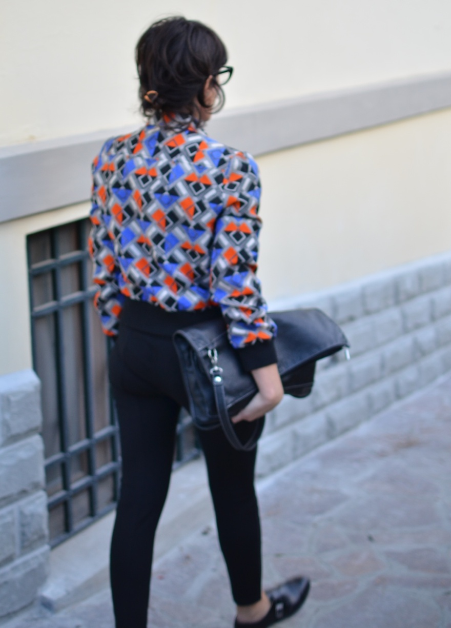 Vintage jacket, pinko pants, vintage shirt, quadretti ricominbinati., mocassini nero, Black flats,  H&M shoes, vintage. Bag, borsa pieghevole,  tom boy inspiration, new look, italian fashion blogger, fashion blog, vintage blog, Anastasia style, florence