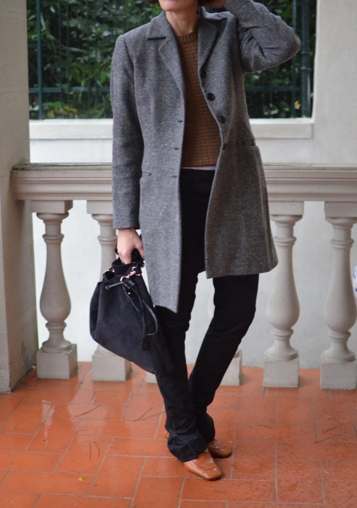 Prada pants, Benetton sweater, pollini shoes. Brosfield coat. Kookai bag, casual outfit, Anastasia style, mysouldress, vintage style, italian fashion blogger, vintage blog, black pants, stile mascolino, boy style,