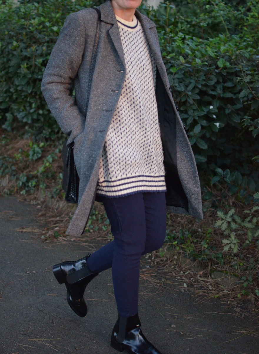 Vintage sweater Gigli pants, bluette pants, Brooksfield coat, cappotto spigato, Zara boots, black boots, vintage style, italian fashion blogger, vintage blogger, sweater oversize, casual outfit, comemivesto,