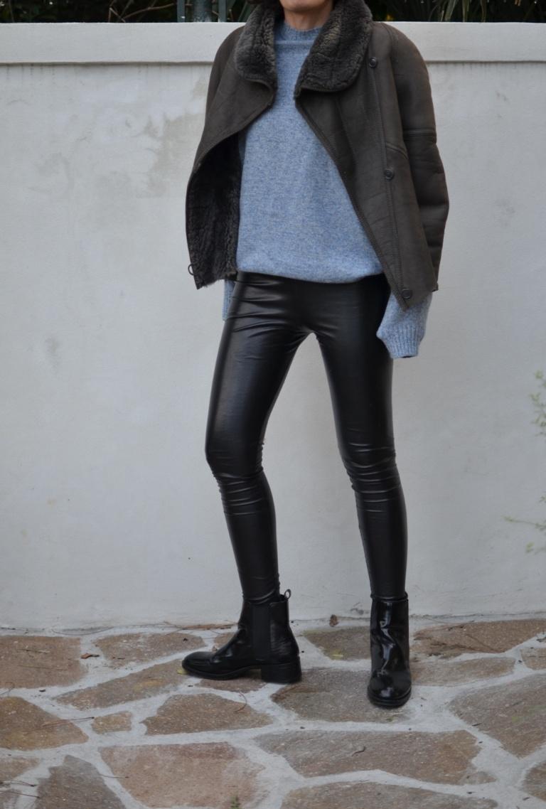 Leather pants, block leather pants, leggings, leggins di finta pelle, come indossare leggins finta pelle, Benetton sweater, vintage jacket, Zara boots, montone, look da inverno, winter look, italian fashion blogger, fashion blog, vintage blog, Anastasia style Florence. Vintage.
