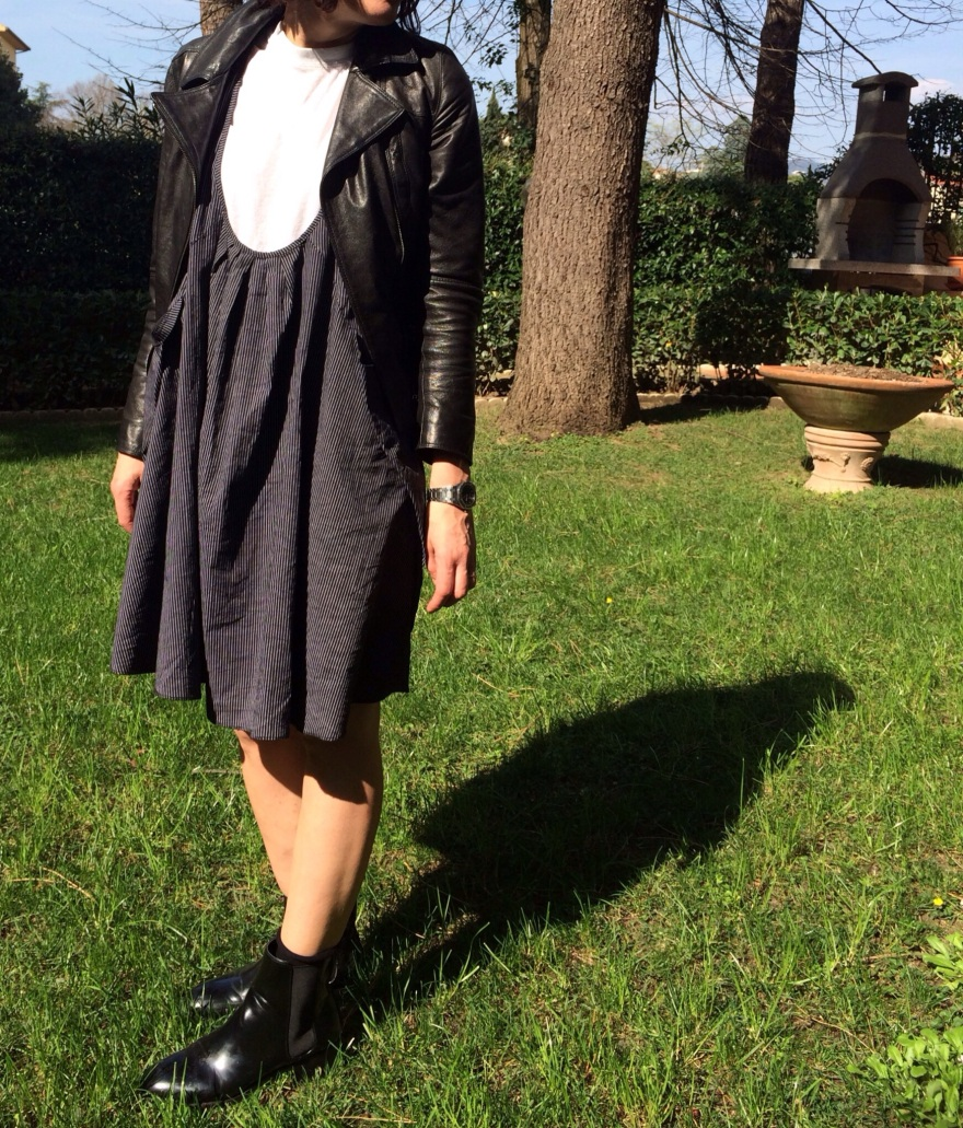 american apparel shirt, Anastasia style, black boots, hand made dress, leather jacket, simply spring dress, Spring outfit, strippes dress, Zara boots