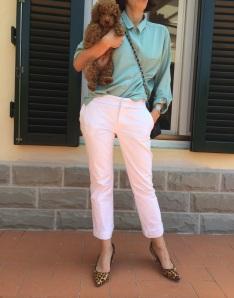Silk pants, White pants, Zara  pants, pantaloni a vita bassa, vintage blog, vintage blogger, florence, Leopard shoes,  shoes, mint shirt, anastasia style,  cheap outfit, casual outfit, vintage style, Florence street style, Zara shoes, animalier, fashion, mydailystyle.